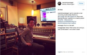 """Naomi Moon Siegel recording """"The After"""" at Skoor Sound."""