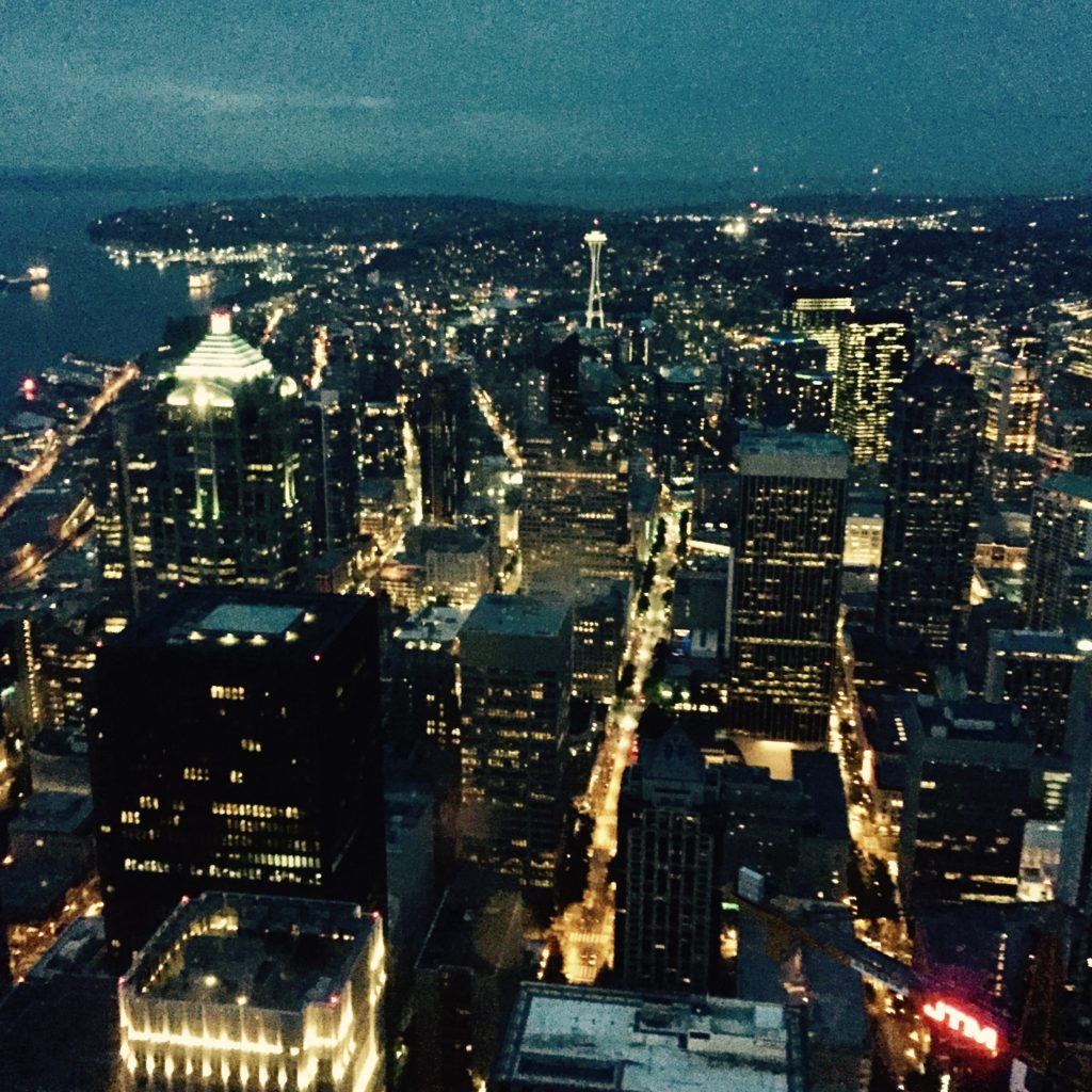 Here's the view from the party at the top of the Columbia Tower!