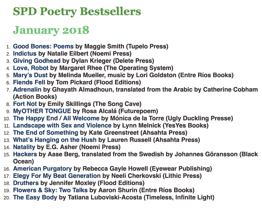 January 2018 SPD Poetry Best Seller List